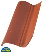 Classic S Mission clay roof tile, F72 Mahogany Crown Flash color.