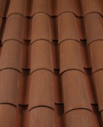 Corona Tapered two piece clay roof tile, CB360-SC Café Mocca Blend.
