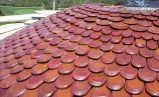 Close up of fish scale dome clay roof tile on Pelican Hill Wedding Rotunda, Newport Coast, CA