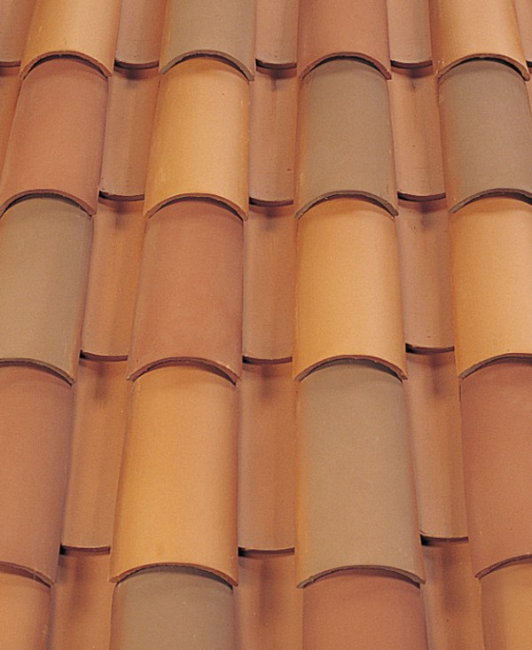 Corona Tapered Mission clay roof tile in B301 Old Mission Blend mock up
