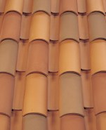 Corona Tapered two piece clay roof tile, B301 Old Mission Blend.