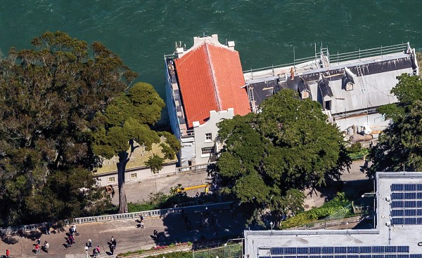 Historical roof tile project - Alcatraz Island Guardhouse Library renovated roof in San Francisco, CA
