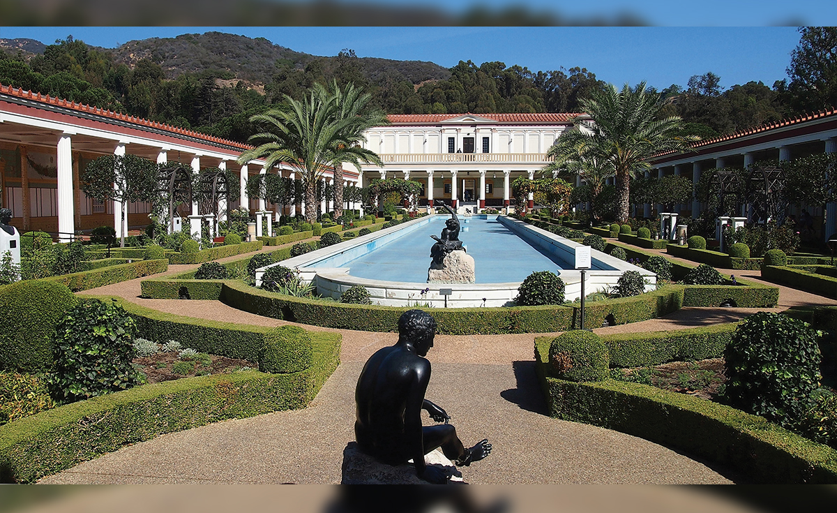 The Getty Villa Museum Outer Peristyle in Pacific Palisades - Custom ridge and Roman Pans to match for restoration project