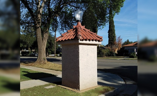 Wood Street Monuments historical clay roof tile in Riverside, CA - Accurate replica tile and four forked ridge created to match.