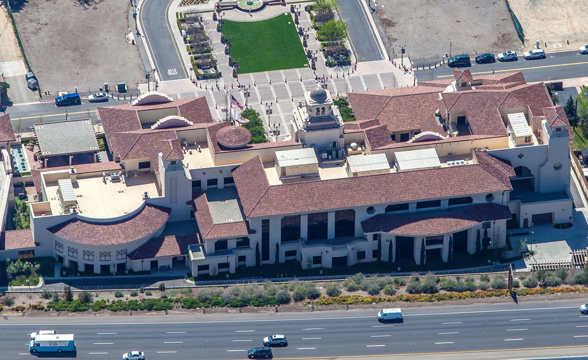 Eyebrow turret and 360° turret clay roof tile in B332-R Houstonian Blend on Temecula Civic Center