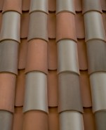 Corona Tapered two piece clay roof tile, B351 San Ramon Blend.