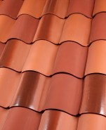 "One Piece ""S"" clay roof tile B304 Sierra Blend 33% F40 Natural Red, 33% F41 Traditional Flash, 33% 2F43 Brick Red Full Surface (pre-blended)"