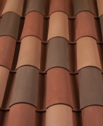 Corona Tapered Mission clay roof tile B350 Old Barcelona Blend 33% 2F45 Tobacco Full Surface, 33% 2F19 Ironwood Full Surface, 33% 2F34 Carmel (pre-blended)