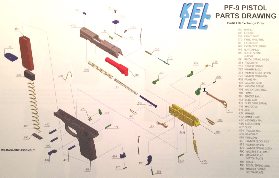 kel tec p11 parts diagram 1970 chevelle radio wiring pf 9 p 11 max control 20lb recoil spring owners manual