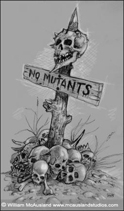 No Mutants Skull Pile Sketch By William Mcausland Rpg Art