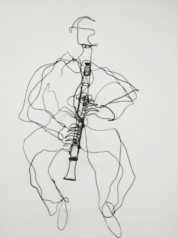Klarinettist, draadfiguur, 30x30x25 cm