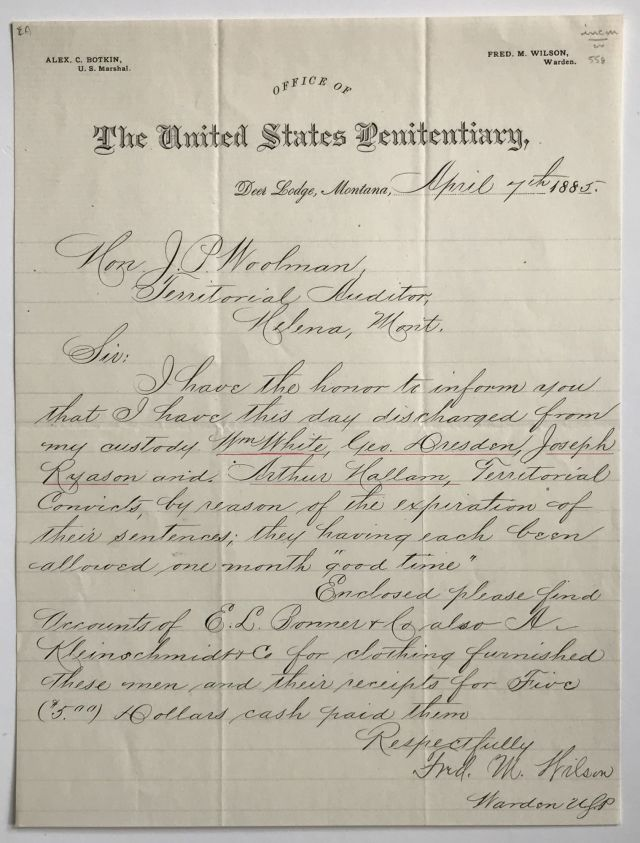 Autograph Letter of Discharge from a Montana Penitentiary for Four