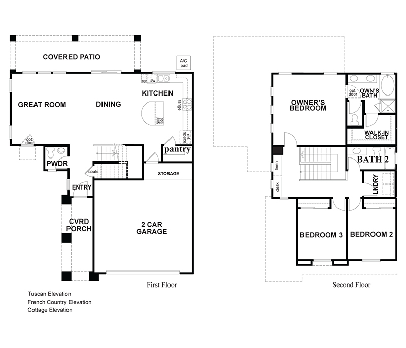 Hunter a 3 bedroom 2 bath home in The Gallery. A New Home