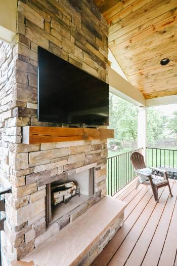 Covered Deck With Fireplace Extends Living Space For Westmoreland Family
