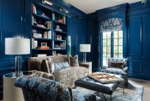 Den with Gray and Blue Velvet Couch