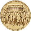 The medal's obverse depicts foot soldiers crossing the Edmund Pettus Bridge on their 54-mile journey from Selma to Montgomery.