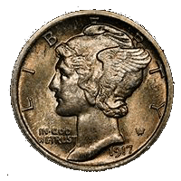 "Winged Liberty Head or ""Mercury"" dime"