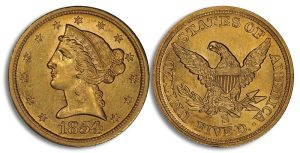 1854S $5 Gold Coin