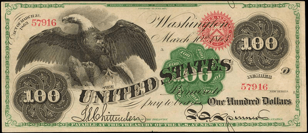 1863 $100 banknote