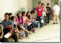 MCCID students wait in line.