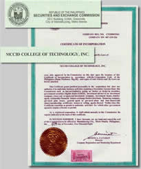 SEC Certificate of MCCID College of Technology