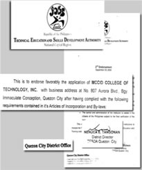 TESDA Indorsement Certificate of MCCID College of Technology