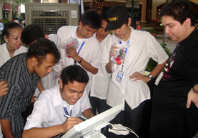 Students were treated to a demo of animation tablet.