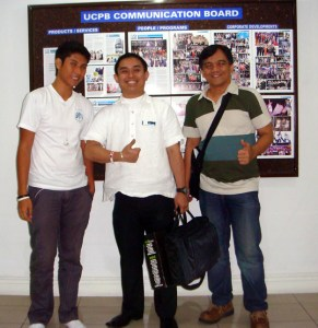 Lucky Paltep, UCPB Program Officer Michael Mapua and Sir Jojo