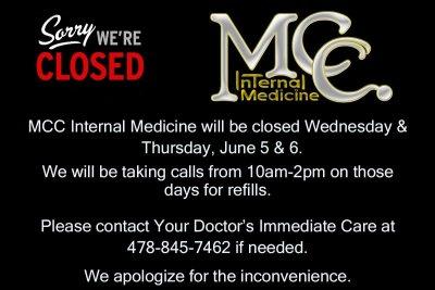 Office Closed June 5-6, 2019