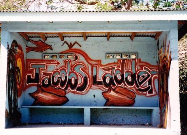 Jacobs Ladder bus stop on St. John, USVI