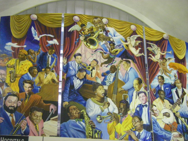 colorful jazz mural at New Orleans airport