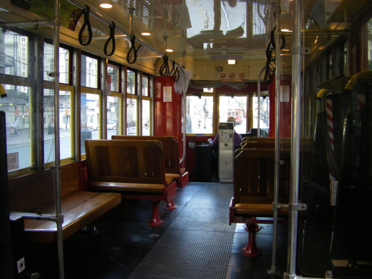 inside of New Orleans cable car