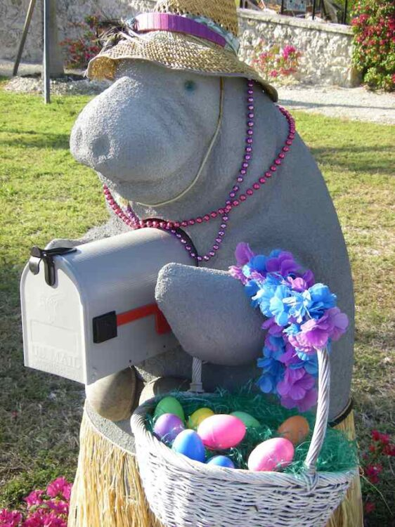manatee mailbox decorated for Easter
