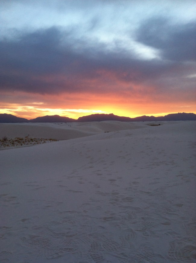 brilliant sunset in White Sands National Monument