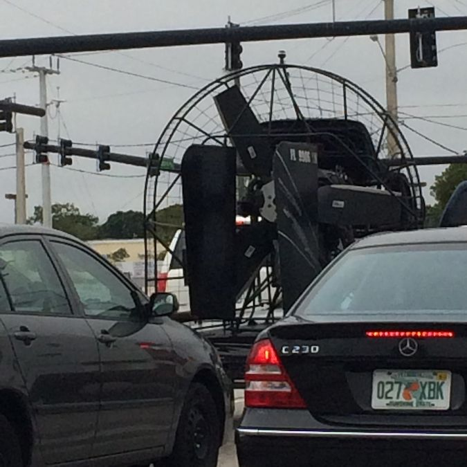 Quirky South Florida: airboat on the street