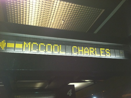 """Charles McCool"" name in lights"