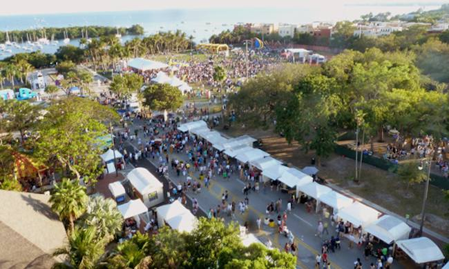 aerial view of Coconut Grove Arts Festival crowd