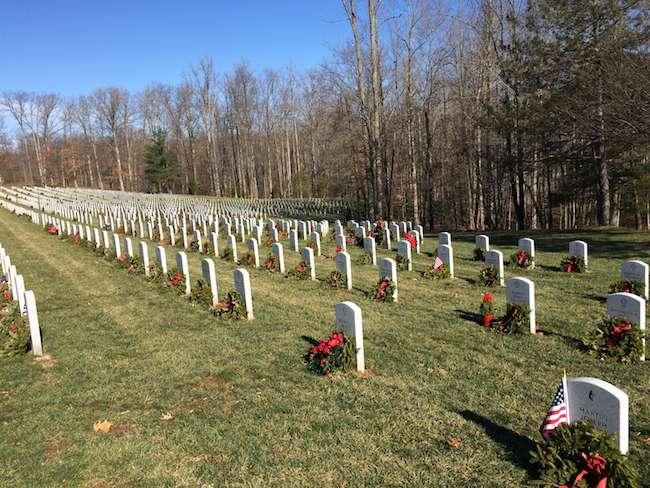 decorated headstones at Quantico National Cemetery