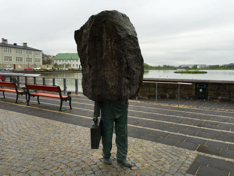 Business man sculpture Rejkyavik Iceland