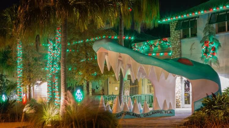 Christmas decorations at Gatorland in Florida