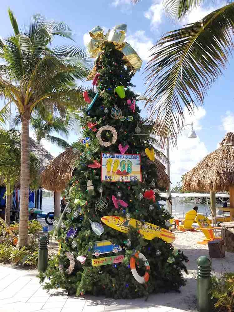 tropical Christmas tree at Margaritaville Hollywood Florida