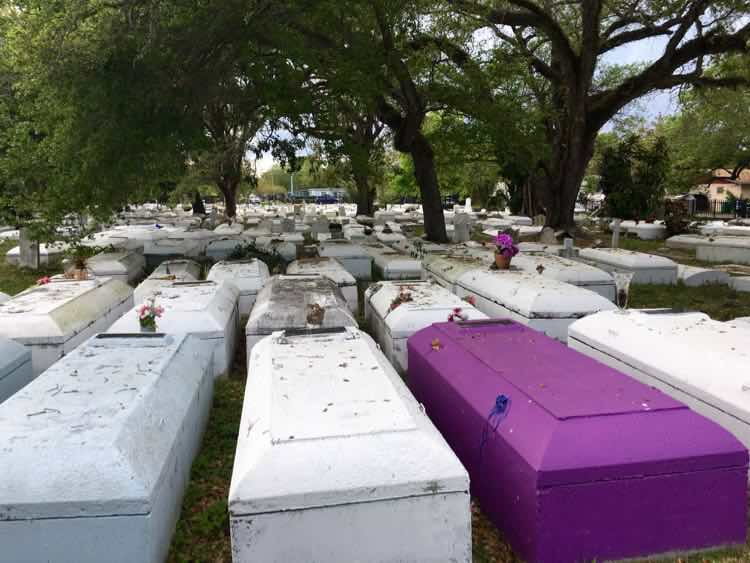 purple and white above ground cemetery in Coconut Grove FL