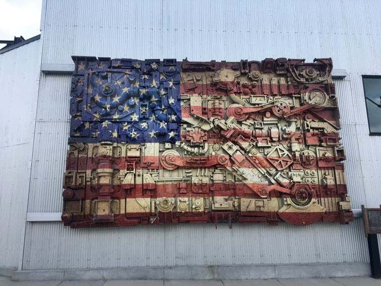 Ironworks Campus Beloit USA flag sculpture