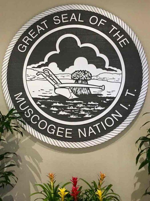 Muscogee Nation symbol: Margaritaville Tulsa ar River Spirit Casino Resort