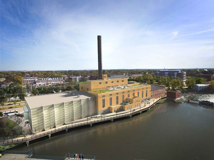 Concept drawing of The Powerhouse at Beloit College on Rock River