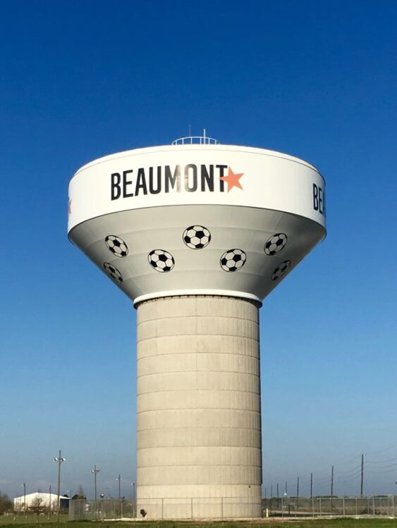 decorated water tower in Beaumont Texas