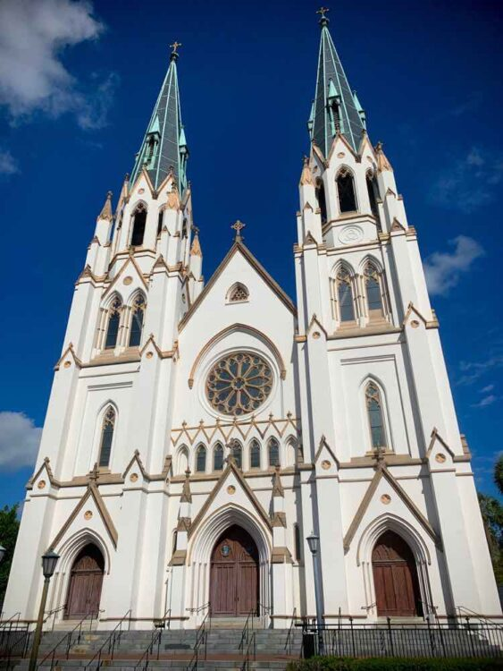 Cathedral of St. John the Baptist and brilliant blue sky