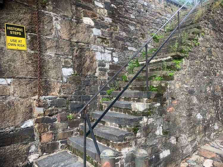 old brick historic staircase