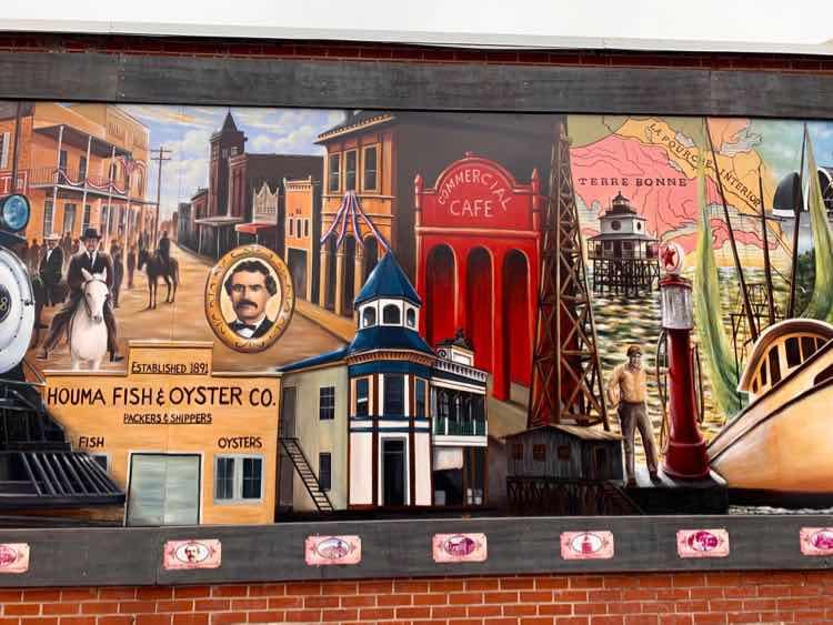 History of Terrebonne mural closeup Houma