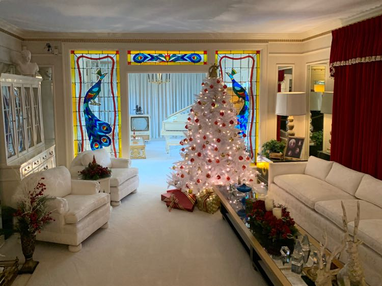 Graceland living room decorated for Christmas